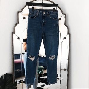 Topshop Jami Jeans dark wash holes in knee
